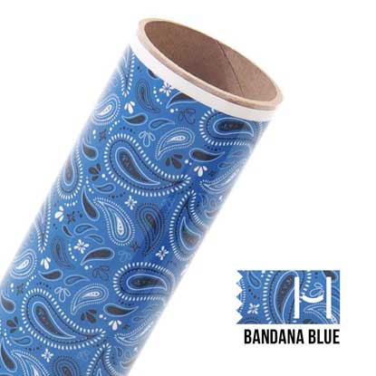 Picture of Happy Face Pattern Iron On Vinyl - Bandana Blue