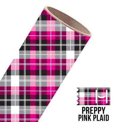 Picture of Happy Face Pattern Adhesive Vinyl - Preppy Pink Plaid
