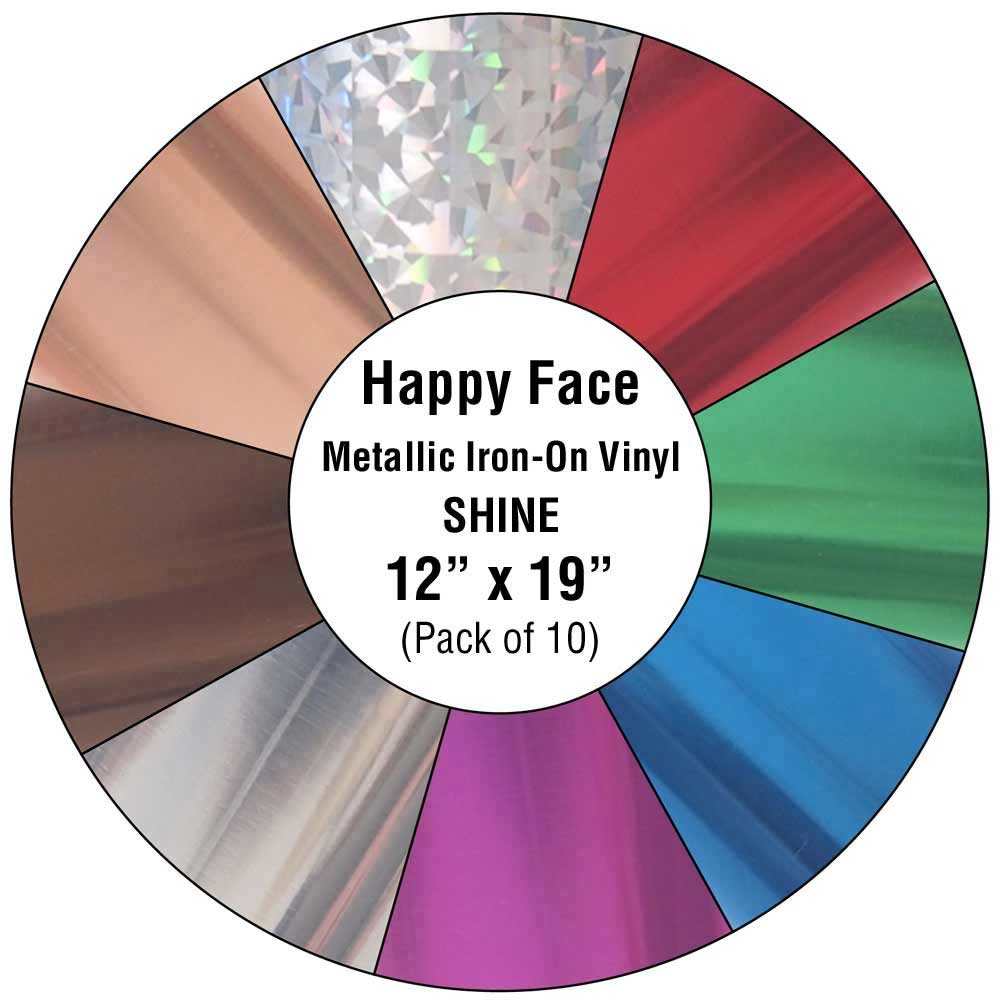 happy face metallic iron on vinyl shine 10 pack happy crafters. Black Bedroom Furniture Sets. Home Design Ideas