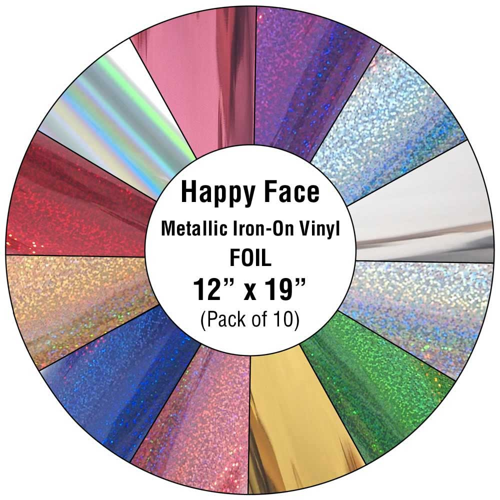 happy face metallic iron on vinyl foil 10 pack happy crafters. Black Bedroom Furniture Sets. Home Design Ideas