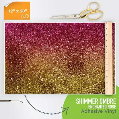 Picture of Happy Face Pattern Adhesive Vinyl - Shimmer Ombre - Enchanted Rose