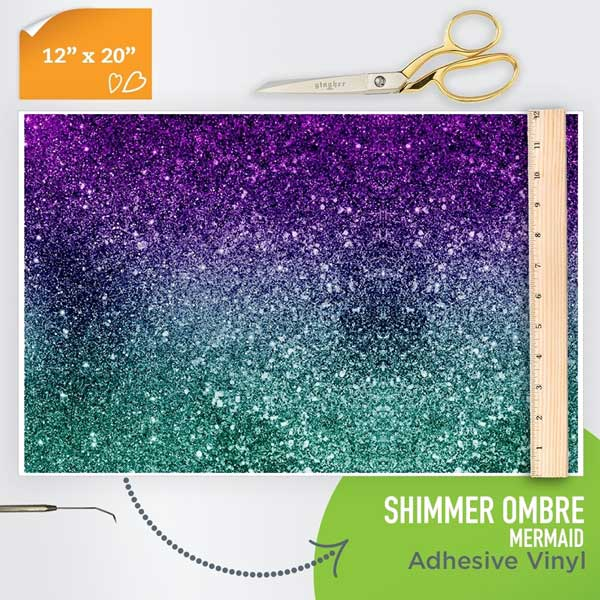 Picture of Happy Face Pattern Adhesive Vinyl - Shimmer Ombre - Mermaid
