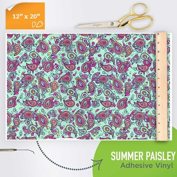 Picture of Happy Face Pattern Adhesive Vinyl - Summer Paisley