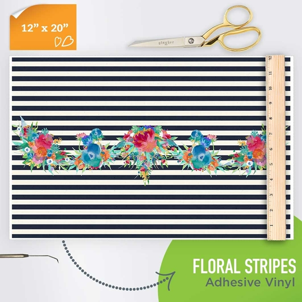 Picture of Happy Crafters Pattern Adhesive Vinyl - Floral Stripes