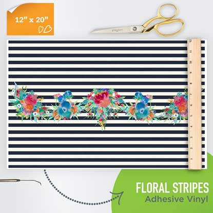 Picture of Happy Face Pattern Adhesive Vinyl - Floral Stripes