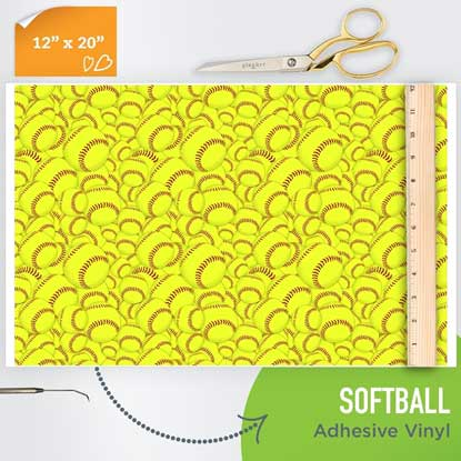 Picture of Happy Face Pattern Adhesive Vinyl - Softball