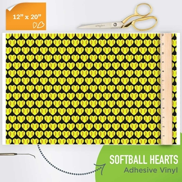 Picture of Happy Crafters Pattern Adhesive Vinyl - Softball Hearts