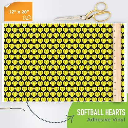 Picture of Happy Face Pattern Adhesive Vinyl - Softball Hearts
