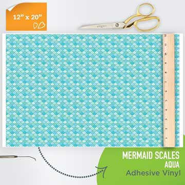Picture of Happy Face Pattern Adhesive Vinyl - Mermaid Scales - Aqua