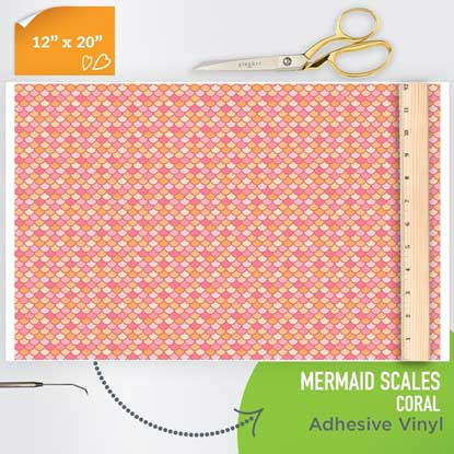 Picture of Happy Face Pattern Adhesive Vinyl - Mermaid Scales - Coral
