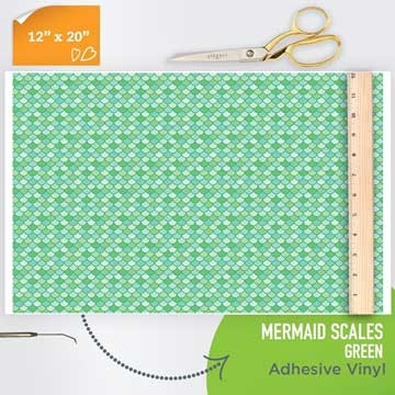 Picture of Happy Face Pattern Adhesive Vinyl - Mermaid Scales - Green