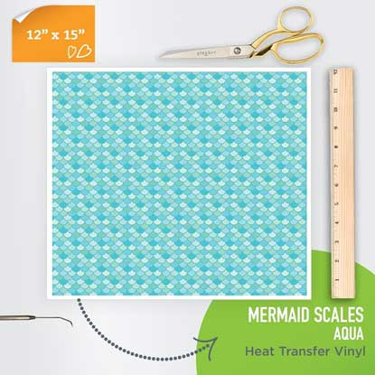 Picture of Happy Face Pattern Iron On Vinyl - Mermaid Scales - Aqua
