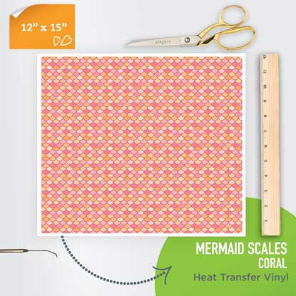 Picture of Happy Face Pattern Iron On Vinyl - Mermaid Scales - Coral