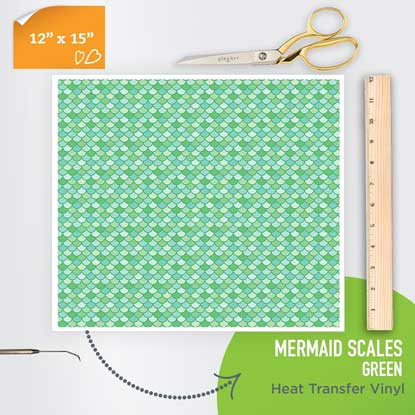 Picture of Happy Face Pattern Iron On Vinyl - Mermaid Scales - Green