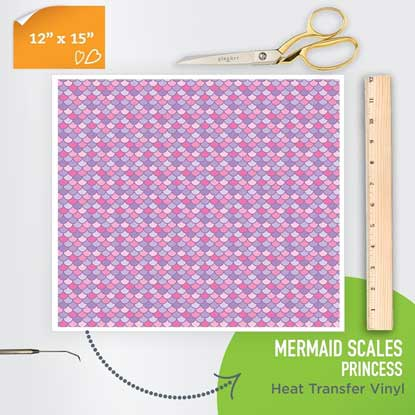 Picture of Happy Face Pattern Iron On Vinyl - Mermaid Scales - Princess