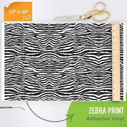 Picture of Happy Face Pattern Adhesive Vinyl - Zebra Print