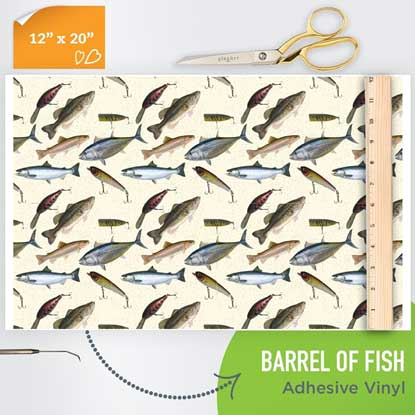 Picture of Happy Face Pattern Adhesive Vinyl - Barrel of Fish