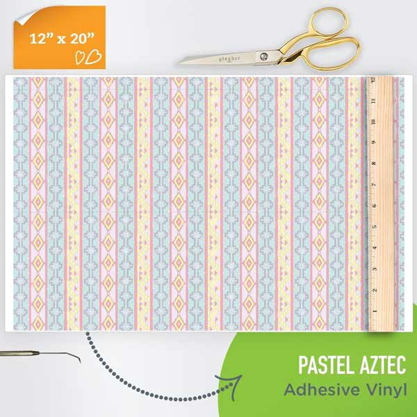 Picture of Happy Face Pattern Adhesive Vinyl - Pastel Aztec