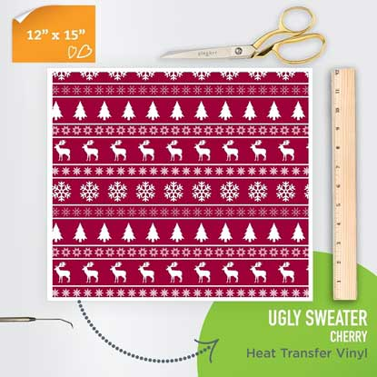 Picture of Happy Face Pattern Iron On Vinyl - Ugly Sweater Cherry