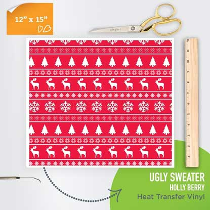 Picture of Happy Face Pattern Iron On Vinyl - Ugly Sweater Holly Berry