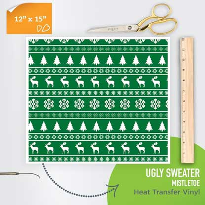 Picture of Happy Face Pattern Iron On Vinyl - Ugly Sweater Mistletoe