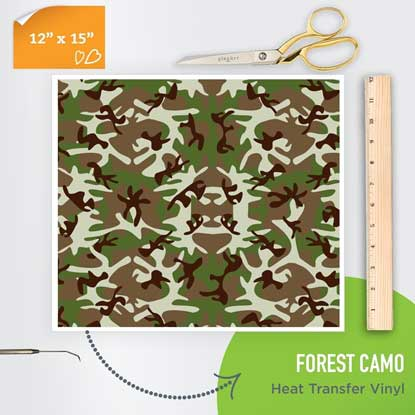 Picture of Happy Face Pattern Iron On Vinyl - Forest Camo