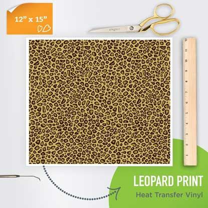 Picture of Happy Face Pattern Iron On Vinyl - Leopard