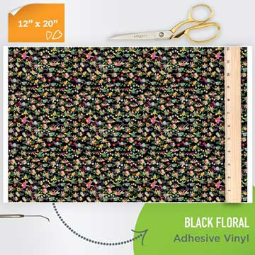 Picture of Happy Face Pattern Adhesive Vinyl - Black Floral