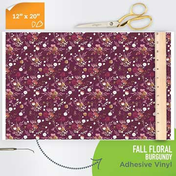 Picture of Happy Face Pattern Adhesive Vinyl - Fall Floral Burgundy