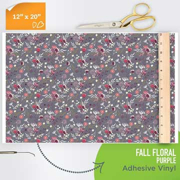 Picture of Happy Face Pattern Adhesive Vinyl - Fall Floral Purple