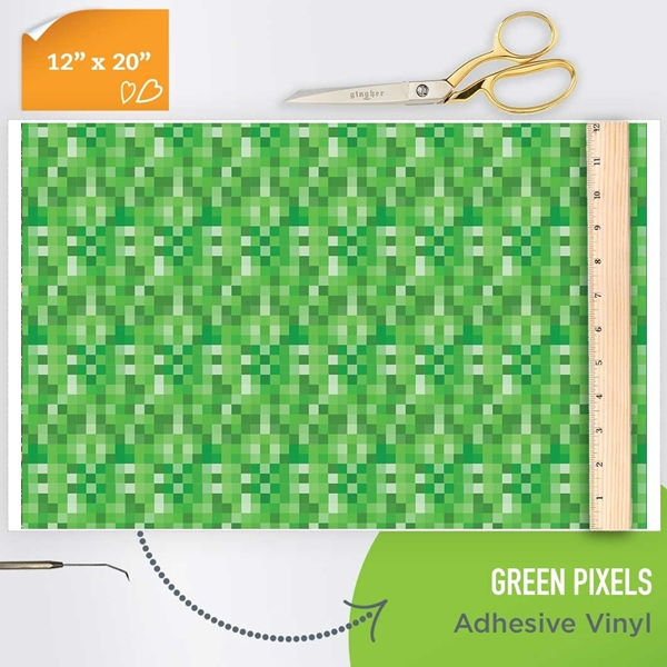 Picture of Happy Crafters Pattern Adhesive Vinyl - Green Pixels