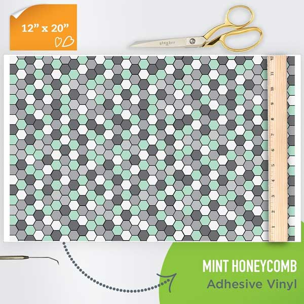 Picture of Happy Face Pattern Adhesive Vinyl - Mint Honeycomb