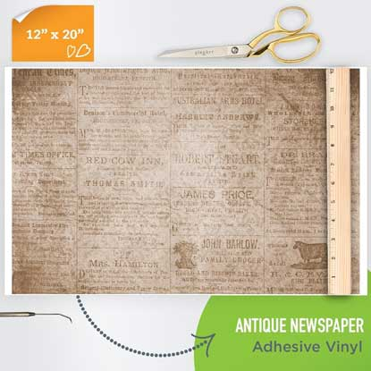 Picture of Happy Crafters Pattern Adhesive Vinyl - Antique Newspaper