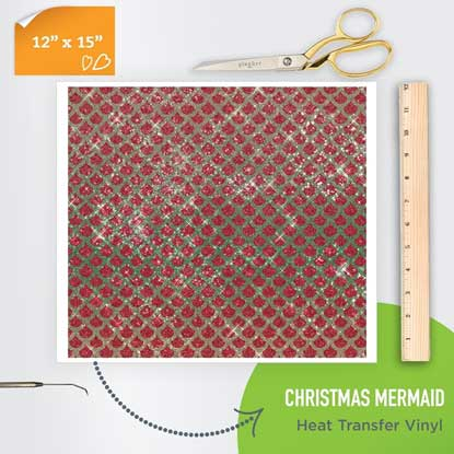 Picture of Happy Crafters Pattern Heat Transfer Vinyl - Christmas Mermaid