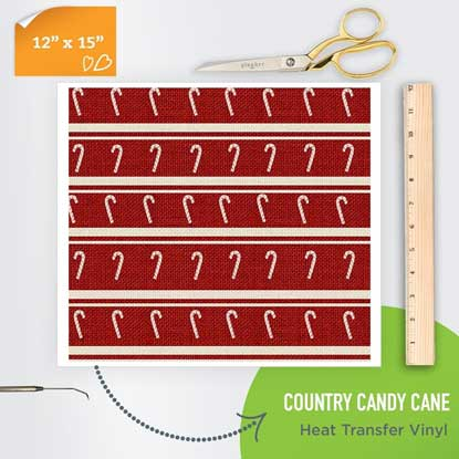 Picture of Happy Crafters Pattern Heat Transfer Vinyl - Country Candy Cane