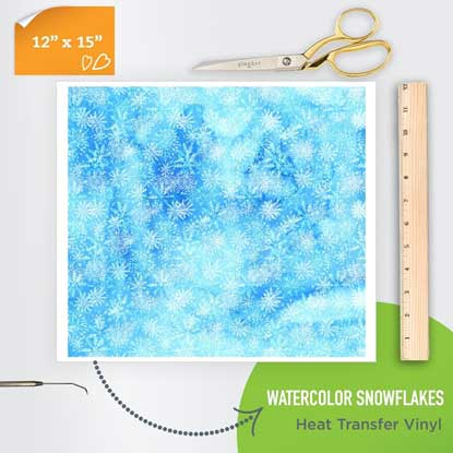 Picture of Happy Face Pattern Iron On Vinyl - Watercolor Snowflakes