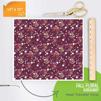 Picture of Happy Crafters Pattern Heat Transfer Vinyl - Burgundy Fall Floral