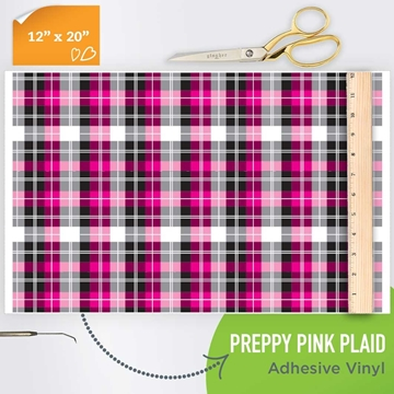 Picture of Happy Crafters Pattern Adhesive Vinyl - Preppy Pink Plaid