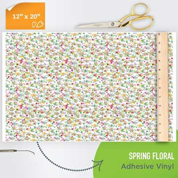 Picture of Happy Face Pattern Adhesive Vinyl - Spring Floral
