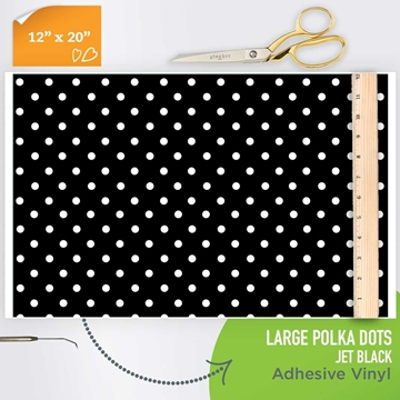 Picture of Happy Crafters Pattern Adhesive Vinyl - Polka Dot Jet Black Large