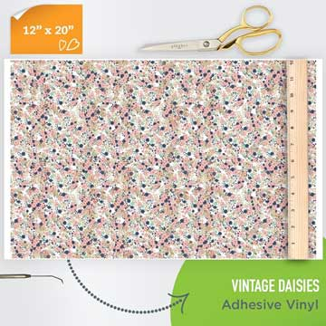 Picture of Happy Face Pattern Adhesive Vinyl - Vintage Daisies