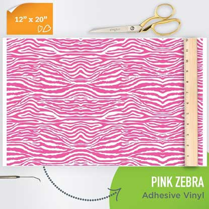 Picture of Happy Face Pattern Adhesive Vinyl - Pink Zebra