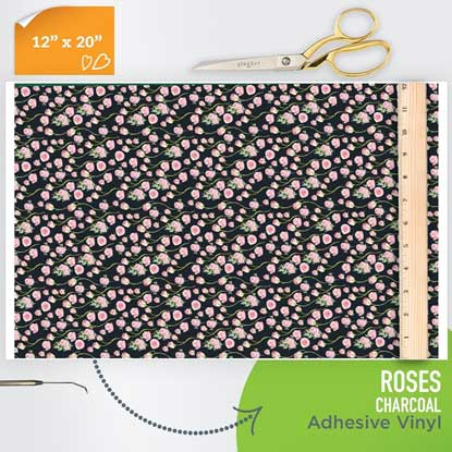 Picture of Happy Face Pattern Adhesive Vinyl - Roses - Charcoal