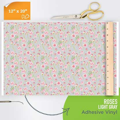 Picture of Happy Face Pattern Adhesive Vinyl - Roses - Light Gray