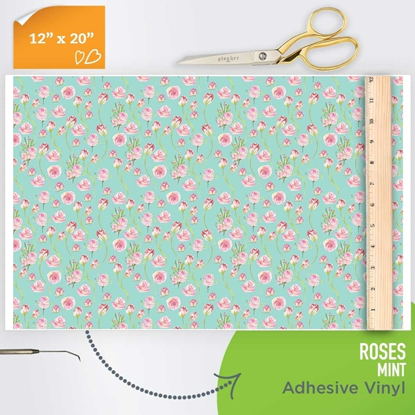 Picture of Happy Crafters  Pattern Adhesive Vinyl - Roses - Mint