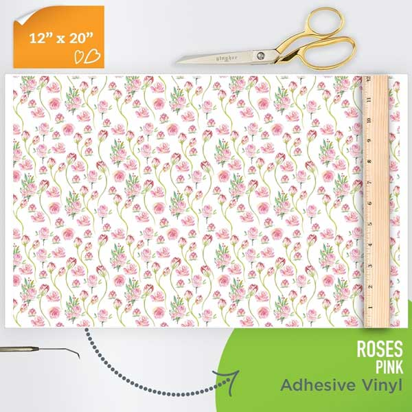 Picture of Happy Face Pattern Adhesive Vinyl - Roses - White