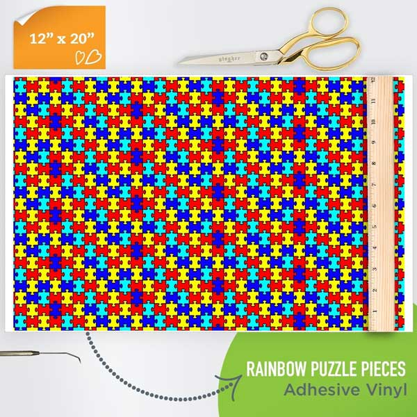 Picture of Happy Crafters Pattern Adhesive Vinyl - Rainbow Puzzle Pieces
