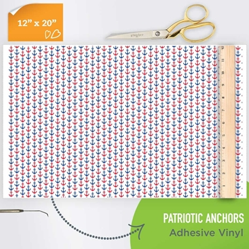 Picture of Happy Crafters Pattern Adhesive Vinyl - Patriotic Anchors
