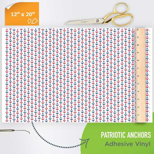 Picture of Happy Face Pattern Adhesive Vinyl - Patriotic Anchors