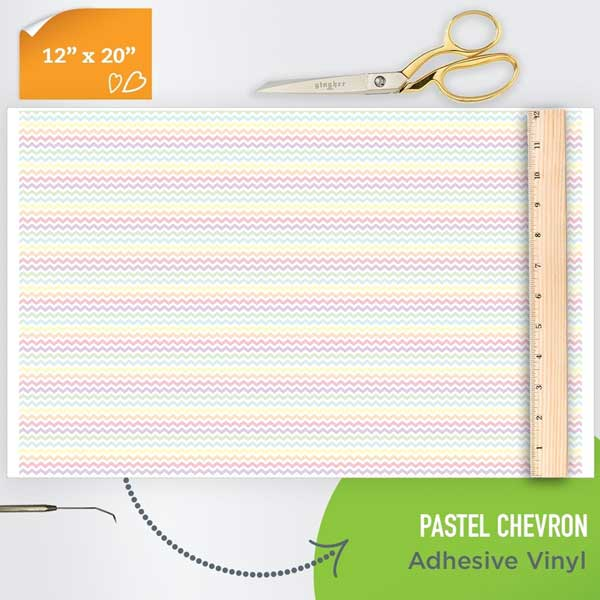 Picture of Happy Face Pattern Adhesive Vinyl - Pastel Chevron